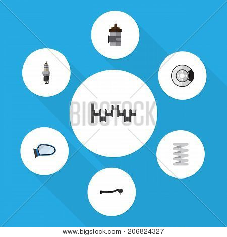 Flat Icon Auto Set Of Crankshaft, Spare Parts, Input Technology And Other Vector Objects