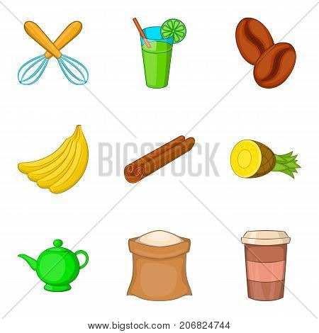 Beverage with filling icons set. Cartoon set of 9 beverage with filling vector icons for web isolated on white background