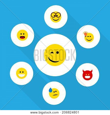 Flat Icon Gesture Set Of Have An Good Opinion, Tears, Grin And Other Vector Objects