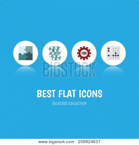 Flat Icon Entertainment Set Of Jigsaw, Gomoku, Multiplayer And Other Vector Objects