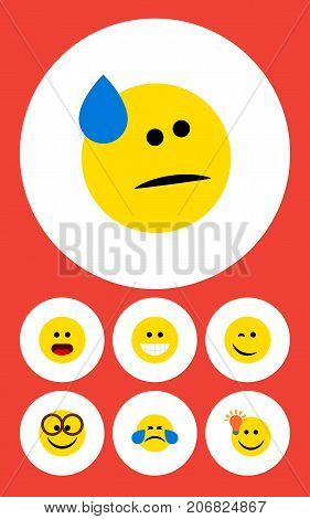 Flat Icon Emoji Set Of Winking, Grin, Cold Sweat And Other Vector Objects
