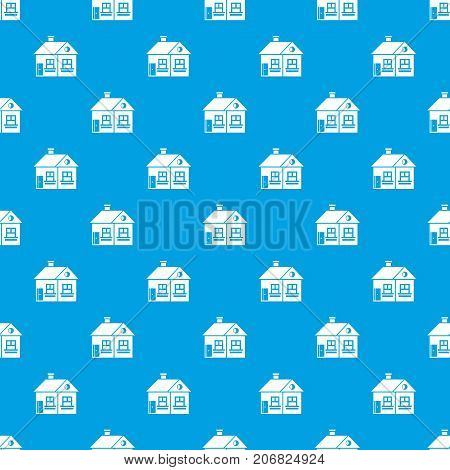 Large single-storey house pattern repeat seamless in blue color for any design. Vector geometric illustration