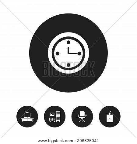 Set Of 5 Editable Furniture Icons. Includes Symbols Such As Watch, Ergonomic Seat, Tv And More