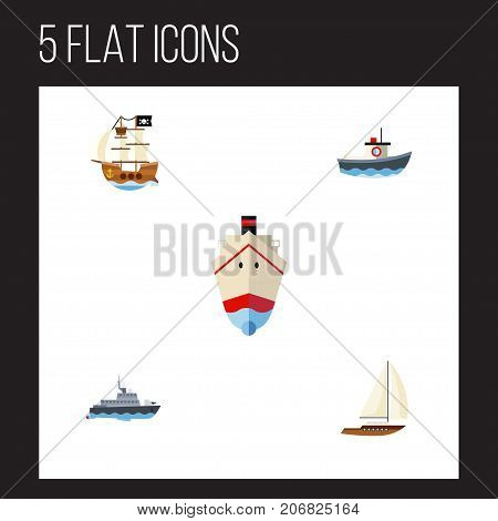 Flat Icon Vessel Set Of Delivery, Transport, Vessel And Other Vector Objects