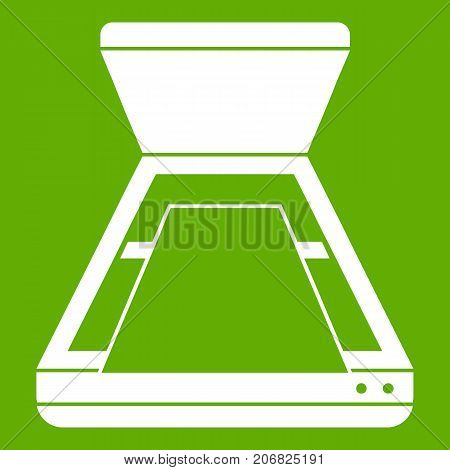 Open scanner icon white isolated on green background. Vector illustration