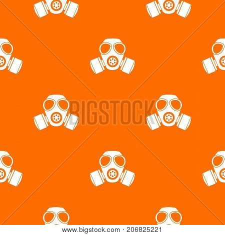 Chemical gas mask pattern repeat seamless in orange color for any design. Vector geometric illustration