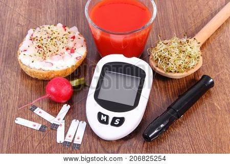 Glucose Meter With Accessories For Checking Sugar Level And Healthy Food And Drink