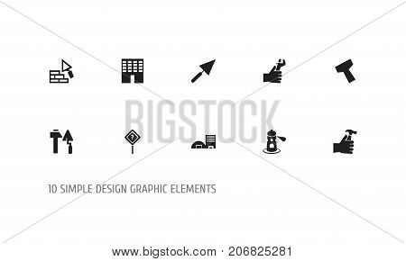 Set Of 10 Editable Structure Icons. Includes Symbols Such As Seamark, Facing, Handle Hit