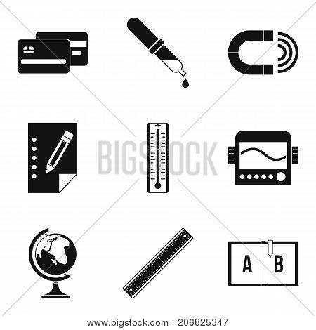 School things icons set. Simple set of 9 school things vector icons for web isolated on white background