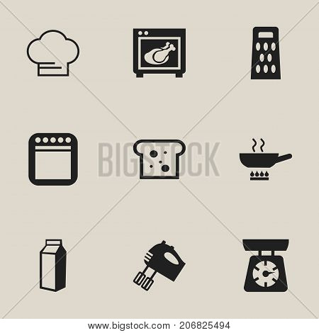 Set Of 9 Editable Restaurant Icons. Includes Symbols Such As Milk Bottle, Cooking Cap, Cooker And More