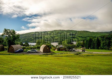 Loch Tay, central Scotland, April 2017: Vacation rental wigwams at Loch Tay Highland Lodges