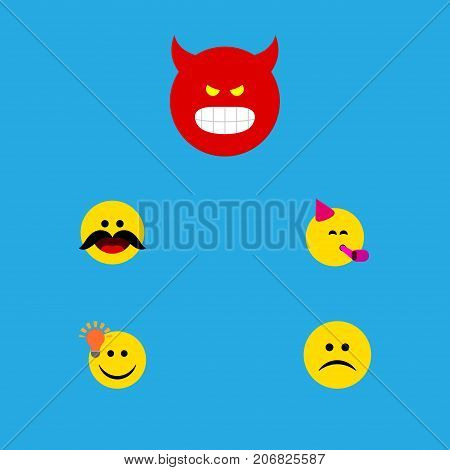 Flat Icon Gesture Set Of Cheerful, Pouting, Party Time Emoticon And Other Vector Objects