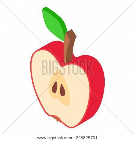 Piece apples icon. Isometric illustration of piece apples vector icon for web