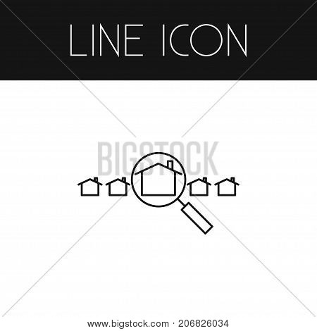 Hut Vector Element Can Be Used For Hut, Magnifier, Search Design Concept.  Isolated Magnifier Outline.
