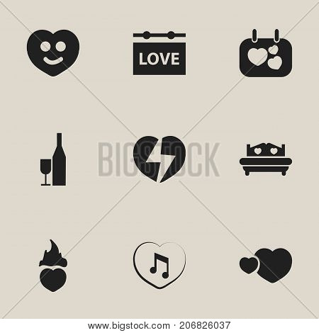 Set Of 9 Editable Amour Icons. Includes Symbols Such As Signboard, Darling, Divorce And More
