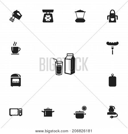 Set Of 13 Editable Kitchen Icons. Includes Symbols Such As Coffee, Pan, Saucepan And More