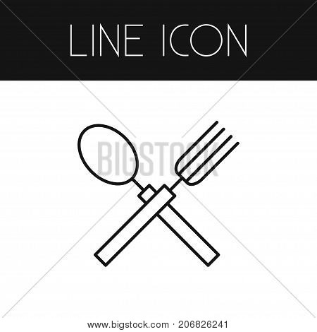 Dishware Vector Element Can Be Used For Spoon, Fork, Restaurant Design Concept.  Isolated Spoon With Fork Outline.