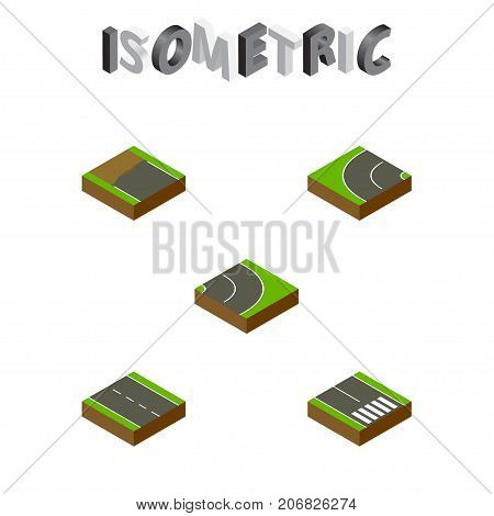 Isometric Road Set Of Incomplete, Asphalt, Single-Lane And Other Vector Objects