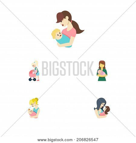 Flat Icon Parent Set Of Woman, Mother, Parent And Other Vector Objects