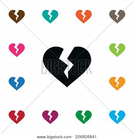 Broken Vector Element Can Be Used For Broken, Divorce, Heart Design Concept.  Isolated Divorce Icon.