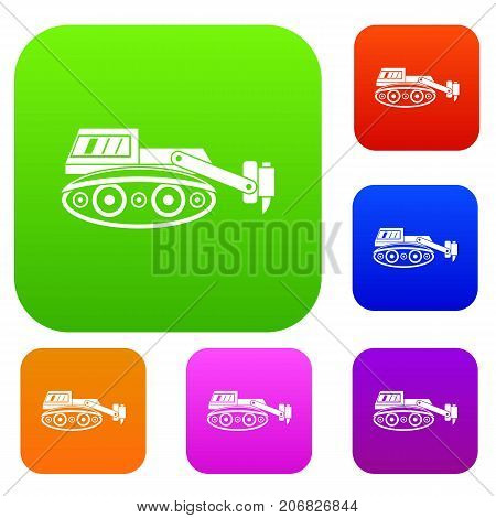 Excavator with hydraulic hammer set icon color in flat style isolated on white. Collection sings vector illustration