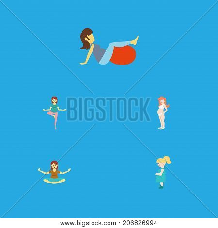 Flat Icon Pregnant Set Of Meditation, Sport, Pregnant Woman And Other Vector Objects