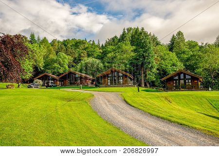 Loch Tay, central Scotland, April 2017: Rental holiday wooden lodges at Loch Tay lake