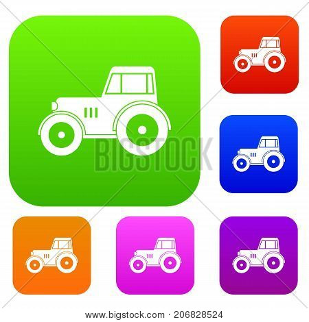 Tractor set icon color in flat style isolated on white. Collection sings vector illustration