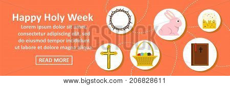 Happy holy week banner horizontal concept. Flat illustration of happy holy week banner horizontal vector concept for web design