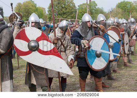 St. Petersburg Russia - May 27 2017: Historical reconstruction of the Battle of the Viking Festival in St. Petersburg Russia