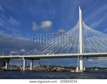 ST PETERSBURG RUSSIA - JULY 20 2017: view of the cable bridge over the Neva River