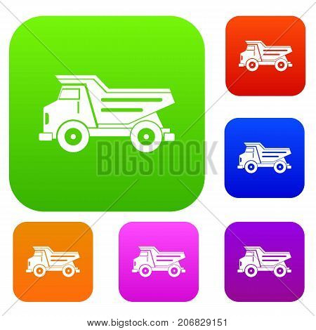 Dump truck set icon color in flat style isolated on white. Collection sings vector illustration