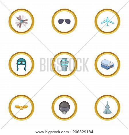 Flight icons set. Cartoon style set of 9 flight vector icons for web design