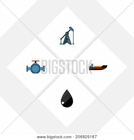 Flat Icon Fuel Set Of Rig, Droplet, Flange And Other Vector Objects