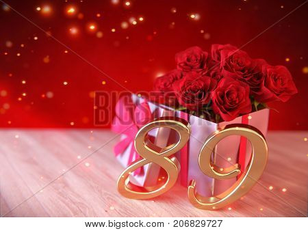 birthday concept with red roses in gift on wooden desk. 3D render - eighty-nineth birthday. 89th