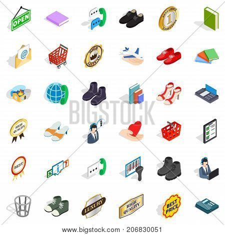 Commercial icons set. Isometric style of 36 commercial vector icons for web isolated on white background