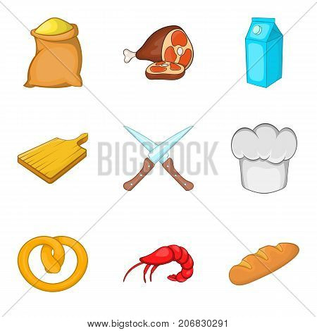 Baker icons set. Cartoon set of 9 baker vector icons for web isolated on white background