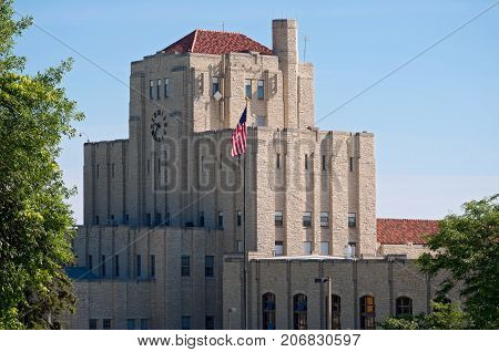 1930s water treatment building milwaukee wisconsin art deco style limestone exterior