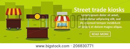 Street trade kiosks banner horizontal concept. Flat illustration of street trade kiosks banner horizontal vector concept for web design