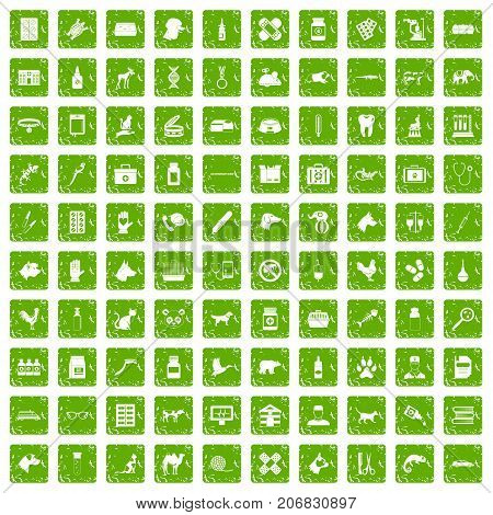 100 veterinary icons set in grunge style green color isolated on white background vector illustration