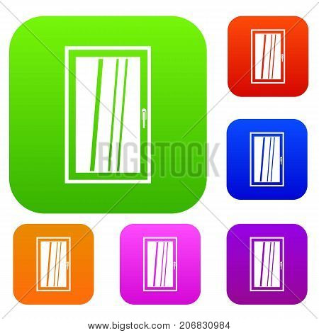 Closed white window set icon color in flat style isolated on white. Collection sings vector illustration