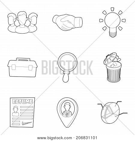 Command icons set. Outline set of 9 command vector icons for web isolated on white background