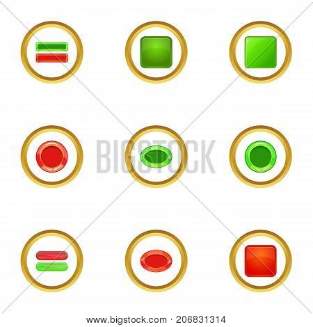 Red and green button icons set. cartoon style set of 9 red and green button vector icons for web design