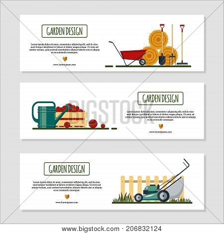Set of horizontal banners for garden desing with hay, tools, wheelbarrow, watering can, box with tomato. Farming equipment - flat vector illustration.