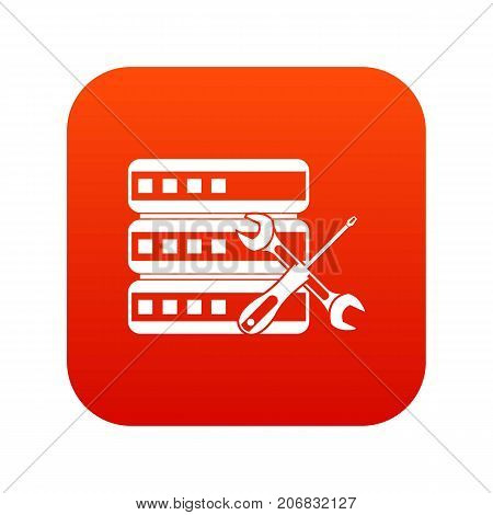 Database with screwdriver and spanner icon digital red for any design isolated on white vector illustration