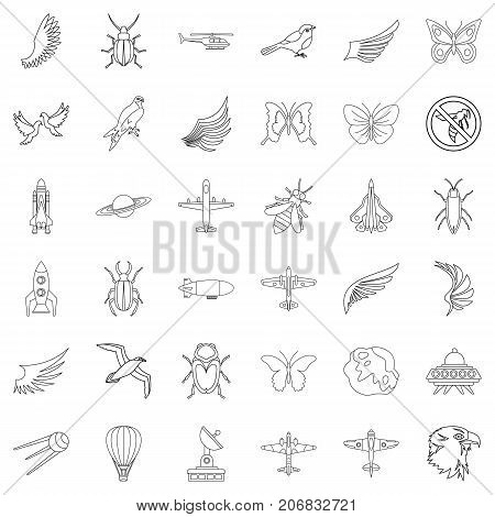 Fly icons set. Outline style of 36 fly vector icons for web isolated on white background