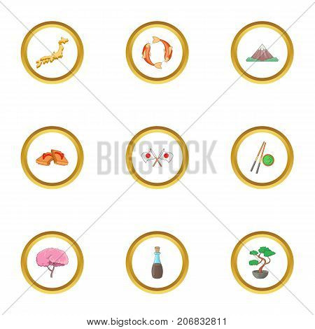Japan culture icons set. cartoon style set of 9 japan culture vector icons for web design