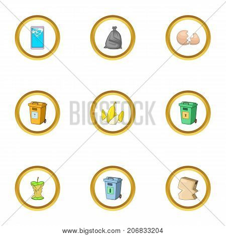Trash icons set. cartoon style set of 9 trash vector icons for web design