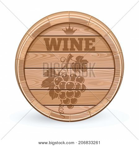 Wooden wine barrel. Wooden cask with wine emblem. Bunch of grapes emblem on a wooden barrel. Vector illustration isolated on white background