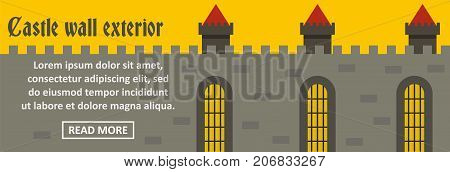 Castle wall exterior banner horizontal concept. Flat illustration of castle wall exterior banner horizontal vector concept for web design